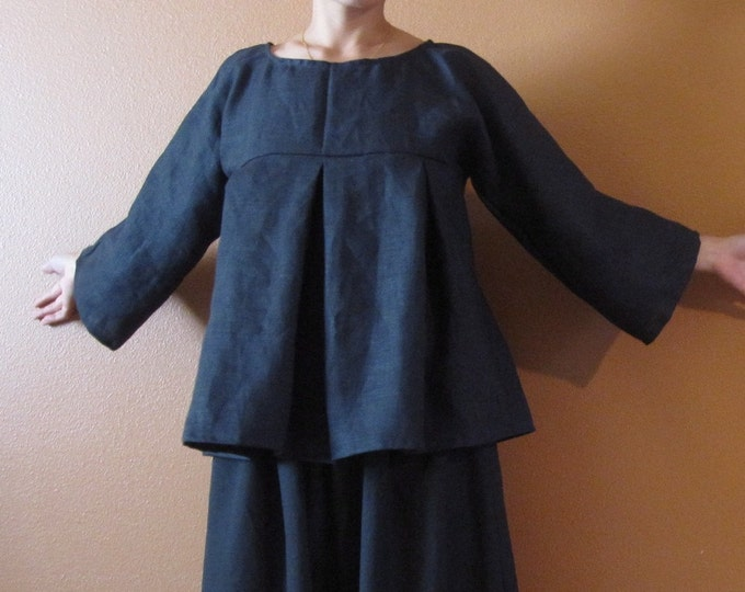 pure linen kimono dolly top custom order listing / super roomy / linen blouse / soft pleats / empire waist / plus size / petite / custom