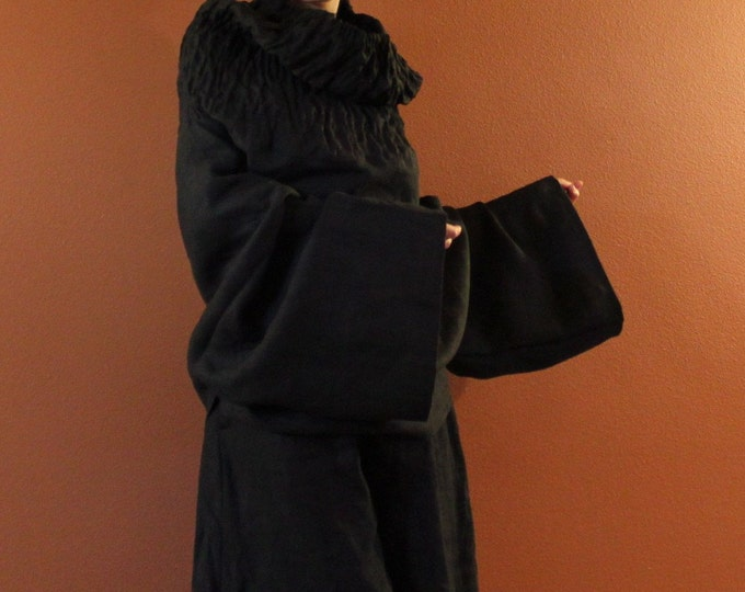 heavy linen shirred turtle neck reversible top or dress / smocked linen dress / black linen dress / linen tunic top / women linen clothing
