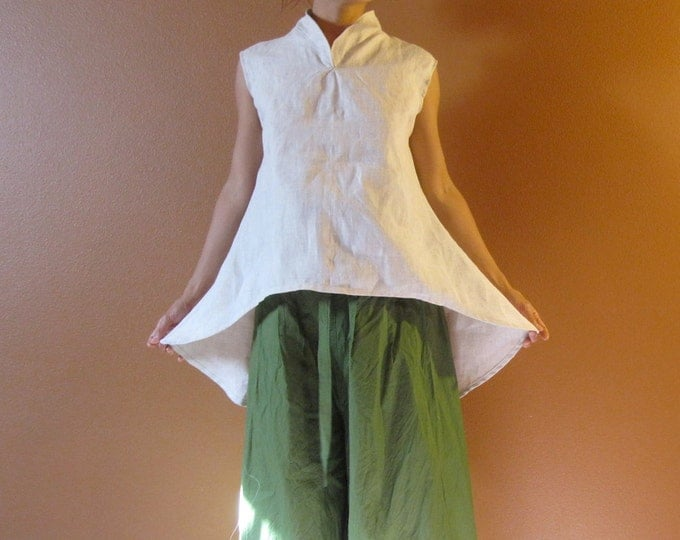 size XS to 5XL and up eco linen simplicity top / minimalist linen top / stand up collar / custom linen top / petite to plus size top