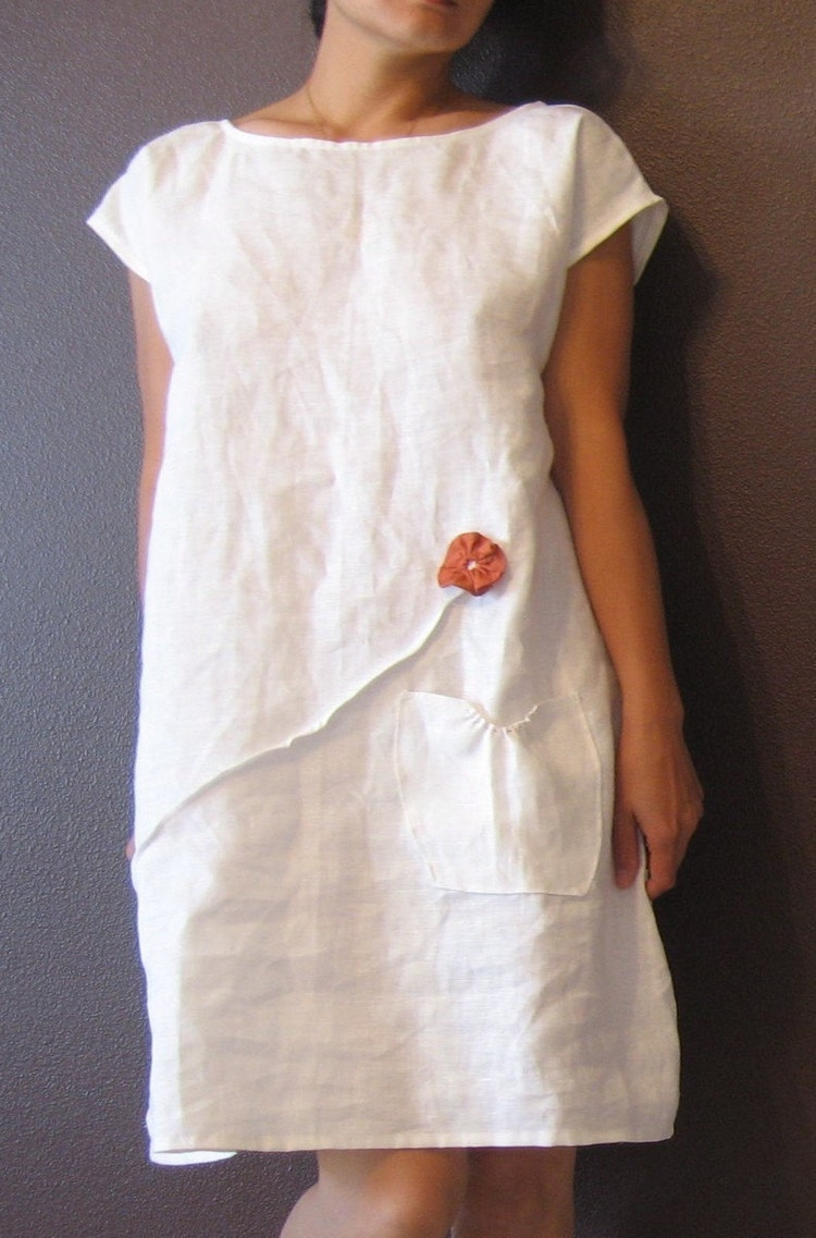Pure Linen Dress White With Rust Pleated By