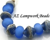 AZ Lampwork Handmade Velvet Silver Blue Skies Ribbed Bicone Spacer Glass Beads  BHV SRA