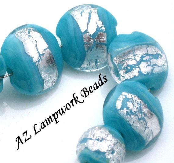 AZ Lampwork Handmade Silver Turquoise Lentil Ribbed Round Glass Beads BHV SRA