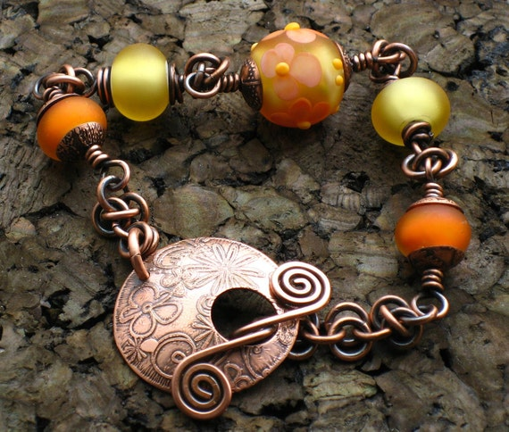 AZ Lampwork Handmade Forged Etched Solid Copper Floral Antiqued Patina Glass Bead Bracelet BHV SRA
