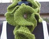 RUFFLES... Custom Boutique Hand Crocheted Neck Warmer Scarflette Olive Green Mohair Type Yarn