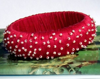 Red Beaded Bangle