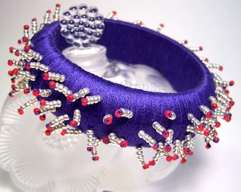 Navy Beaded 'Hedgehog' Bangle