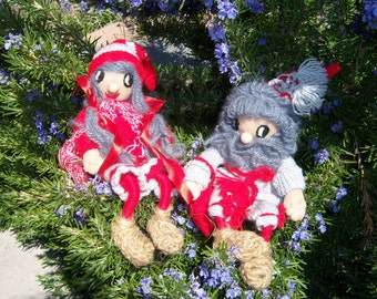 Vintage Handmade Swedish Tomte Dolls-Liam and Ragnhild