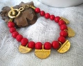 Bracelet Ruby Red Coral with Gold Charms