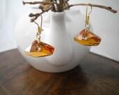 Gift for her  Mustard  Swarovski 925 Silver Earrings