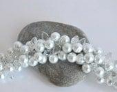 pearl bracelet weddings bridal White Glass Pearls with Drop Crystals Bracelet