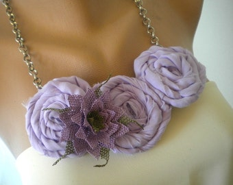 Unique Rosette Necklace with Handmade Lace Oya Flower