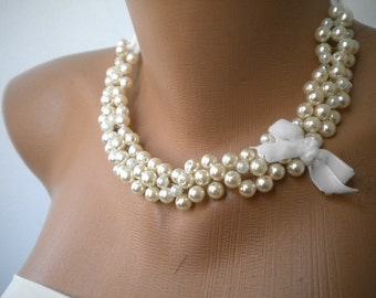 Handmade Weddings Glass Pearl Necklace brides bridesmaids gift special occasion