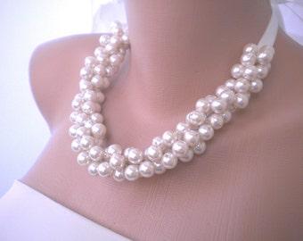 Weddings Pearl Necklace, bridal necklace ,statement wedding necklace, wedding jewelry , bridal jewelry bride necklace ,wedding date necklace