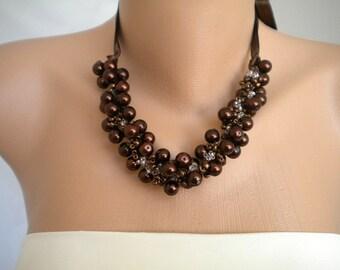 Handmade Weddings Chocolate Pearl Necklace