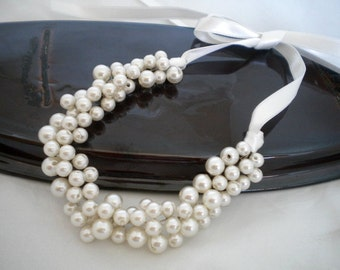 Handmade Weddings Pearl Necklace,Bridal Jewelry, Statement Necklace