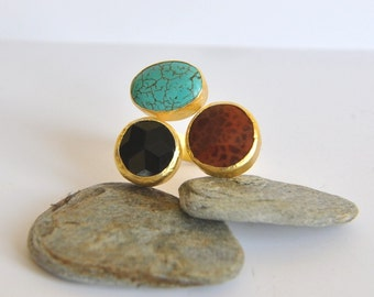 925 Silver  Ring with Turquoise Agate and Onyx