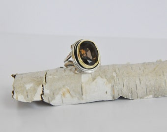 925 Sterling Silver Smoky Quartz Faceted  Ring