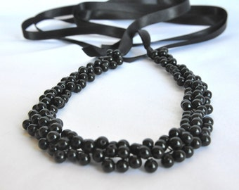 Black 8mm Pearl Choker, Handmade Weddings Pearl Necklace brides, bridesmaids gifts, special occasion