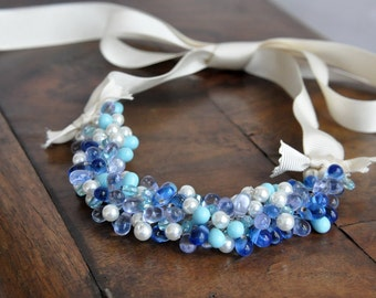 Ocean Waves Beach Weddings Pearl and Glass Necklace
