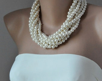 Free Shipping 3 Days Delivery Chunky Layered Bridal Ivory Pearl Necklace, Brides, Bridesmaids,  special occasion
