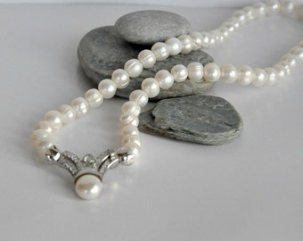 Ivory Freshwater Pearl Necklace brides bridesmaid special occasion