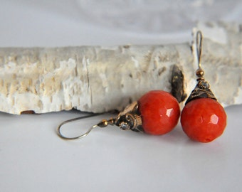 925 Sterling Silver   Burnt Orange Gemstone Earrings