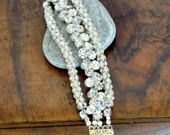 Multistrand Pearl Bracelet,wedding bracelet, sparkle bridal bracelet, Handmade Weddings Rhinestone Bracelet Brides Bridsmaids Gifts