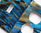 Blue Marbled Thai Paper Lightswitch and Outlet Cover