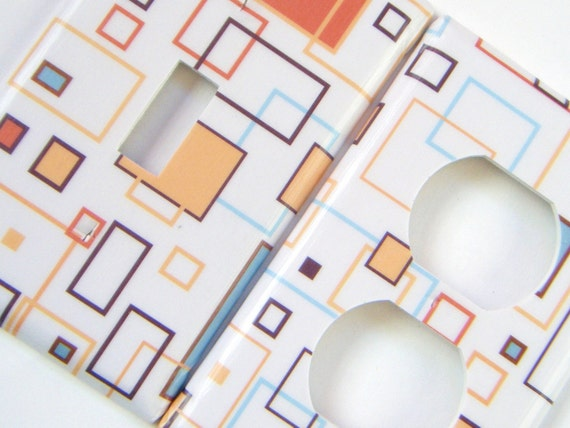 Multicolored Rectangles Light Switch and Outlet Cover