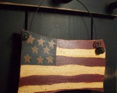 Americana Wooden USA Flag Peg Hanger - Primitive - Stars and Stripes