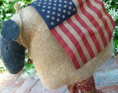 Primitive Sheep Make-do, Americana, Rustic, Patriotic, USA, Memorial Day, Veterans Day, 4th of July, Textile Beehive Bobbin