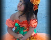 Custom Made Pumpkin Princess Halloween Costume Top and TUTU set  12  2t 3t 4t 5t 6