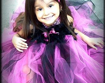 Boutique Pageant Birthday Hot Pink ZeBrA cheetah Tutu Dress/Bow set 12 months - 5t