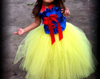 Snow White Princess corset and tutu dress set sizes 12 months 2t 3t 4t 5t 6 with headband and arm puffs