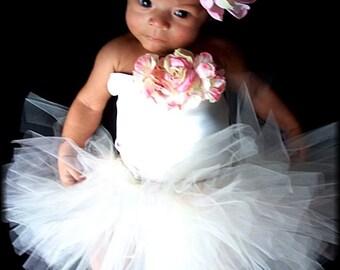 Just Darling Infant Portrait Satin Corset and Tutu Flower dress up Set newborn 3 6 9 12 months