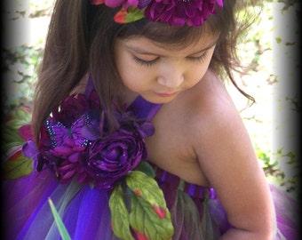 Beautiful Plum autumn purples Fairy tutu dress flower girl wedding sizes 12 months 2t 18 2t 3t 4t 5t 6 girls