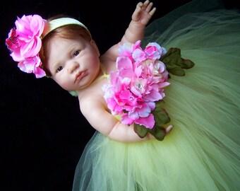 Weekend Sale Infant Baby Newborn...Tutu dress and headpiece  portrait SET...newborn 12 18 months