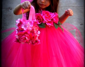 Precious in PinKs  Rose flower Fairy Princess Tutu Gown Dress with headpiece