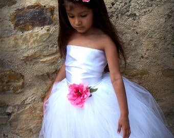 WEDDING White Satin Corset Top and Tutu Dress SET Prop 12 Months 2t 3t 4t 5t 6