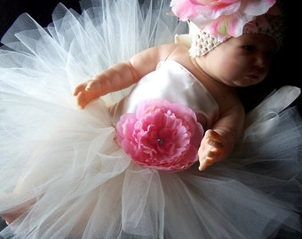 Ivory Satin Portrait Tutu Dress Set newborn 0 3 6 9 12 months