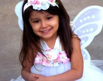 Ivory Cream floral Tutu dress Set with wings headband GREAT for Portraits Weddings Birthday