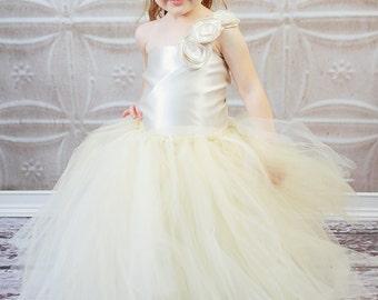 Weekend Sale Beautiful Cream One shoulder Satin Corset Top and Super Full tutu Dress newborn 12 months 2t 3t 4t 5t 6 girls