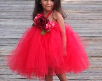 Red Rose Christmas  Portrait  tutu Dress flower girl sizes 12 months 2t 3t 4t 5t