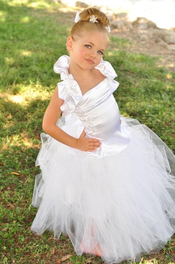 Lovely  Wedding White satin top and  long fluffy Tutu Tulle Skirt  Flower Girl Set w/ ruffled Shrug sizes 12 months 18 2t 3t 4t 5t 6 - 8