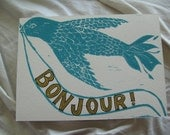 SALE Winged Messenger BONJOUR Postcard