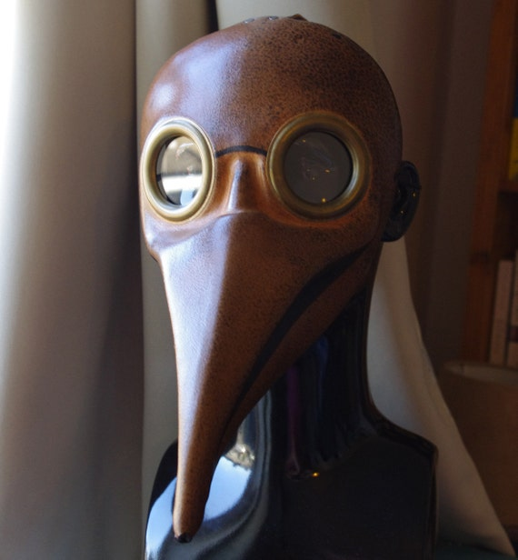 Light Brown Doctor Plague Leather Mask  for Halloween, Fancy Dress