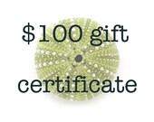 Gift Certificate, 100 dollars