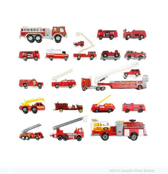 Toy Firetruck Collection - 8x8 photograph - fire trucks, playroom wall art, nursery decor