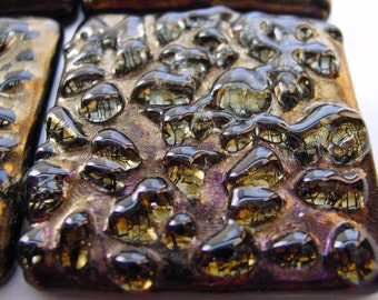 Fused Glass Accent Tiles Gold Iridized and Textured T02   2x2in