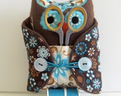 Sewing Kit  Owl Blue and Chocolate Brown